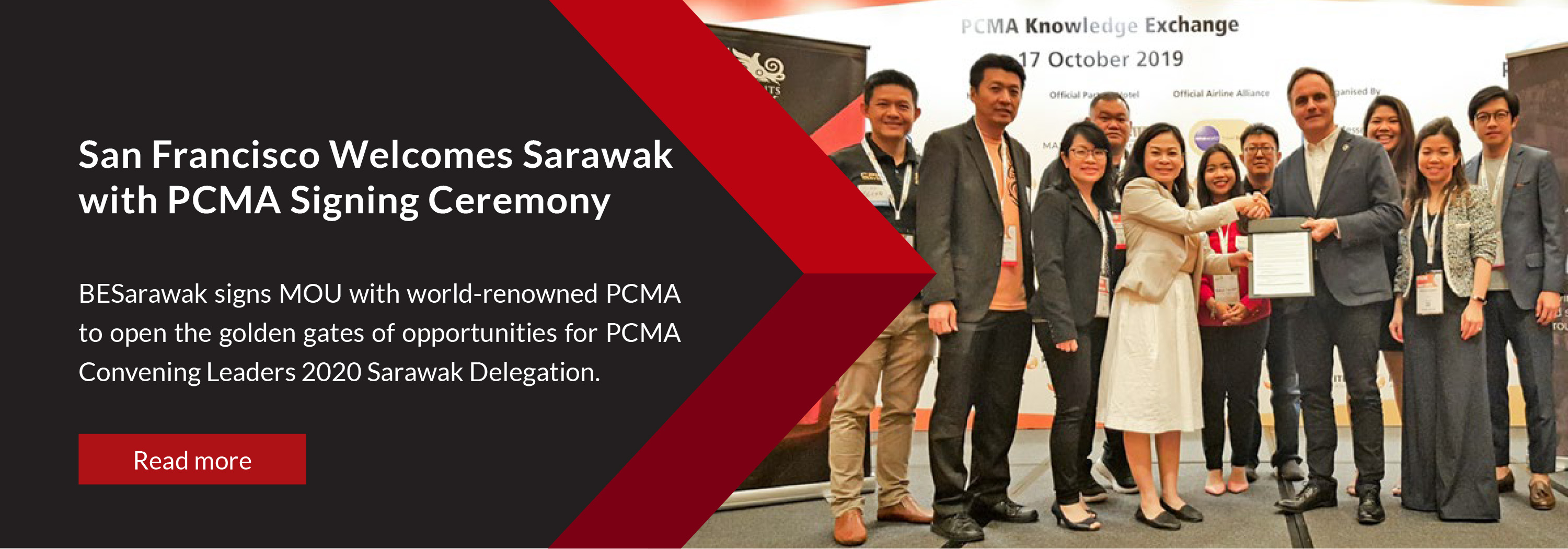 BESarawak signs MOU with world-renowned PCMA to open the golden gates of opportunities for PCMA Convening Leaders 2020 Sarawak Delegation.